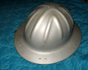 Clyde Martin's hard hat for working on the drilling rig.