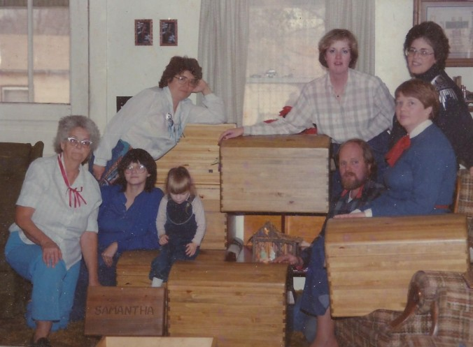 Mom_Owen_Sam_Sisters_trunks_and_stool_Christmas_1988