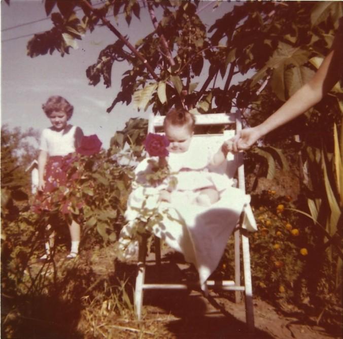 baby shannon, rose, karen martin Oct 1958 at McGhee farm Madison, castor bean plant