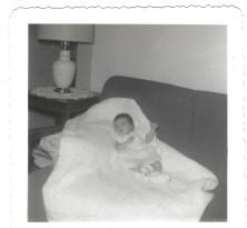 shannon baby blanket, sofa June 1958