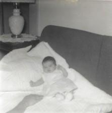 shannon baby blanket sofa, mom's hand - June 1958