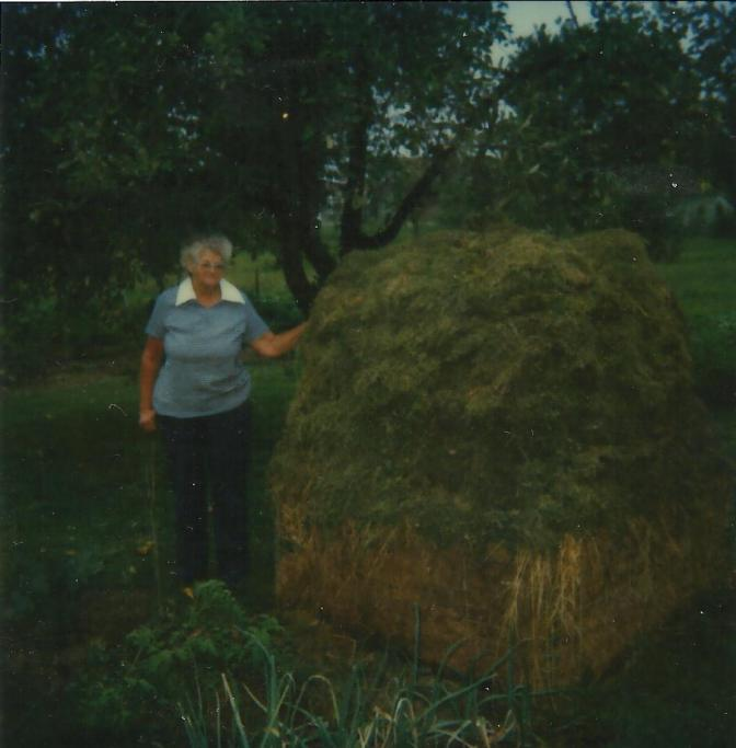 Gail with the giant compost heap