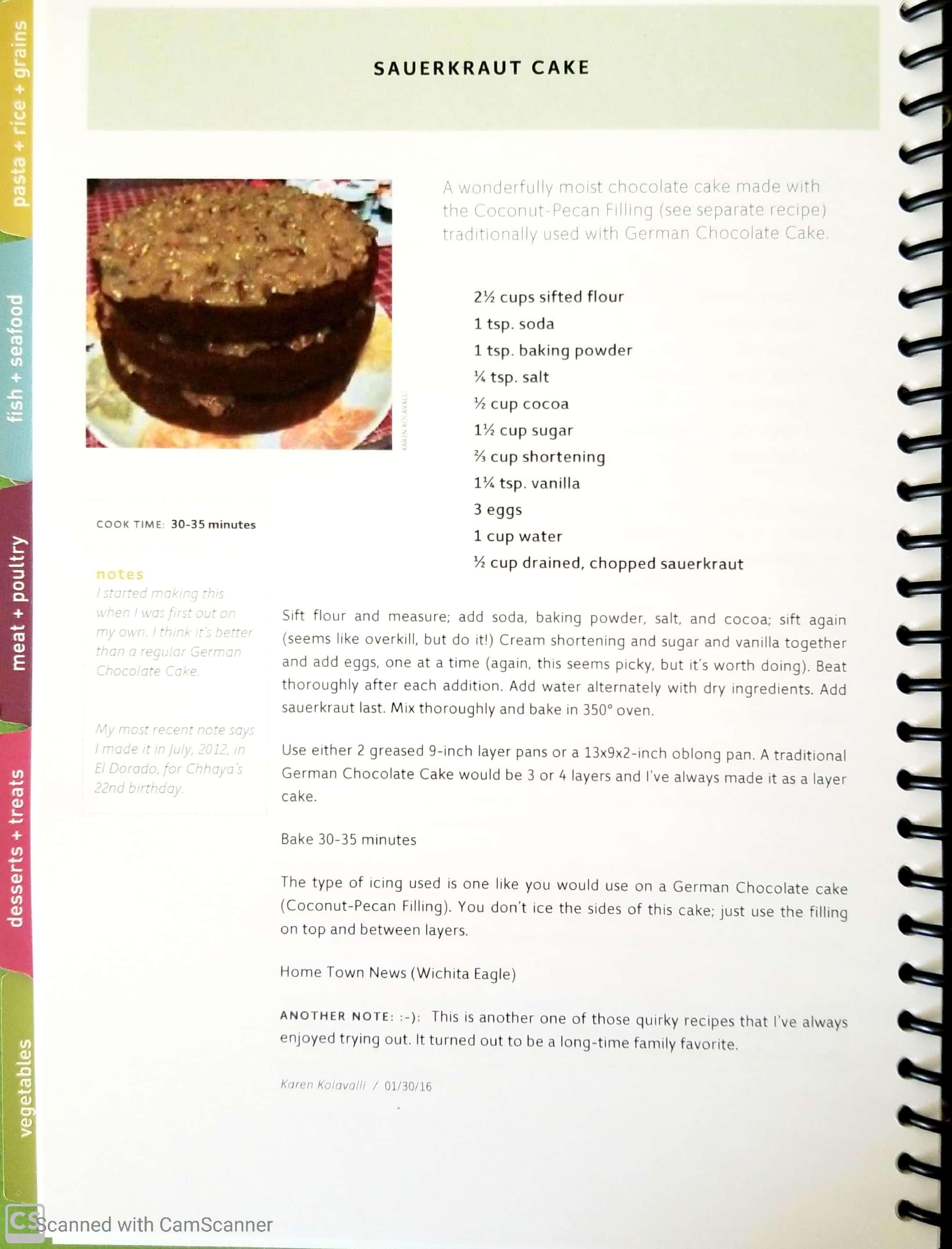 sauerkraut cake in KK cookbook