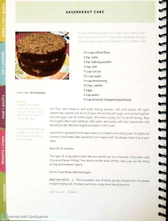 sauerkraut cake in KK cookbook
