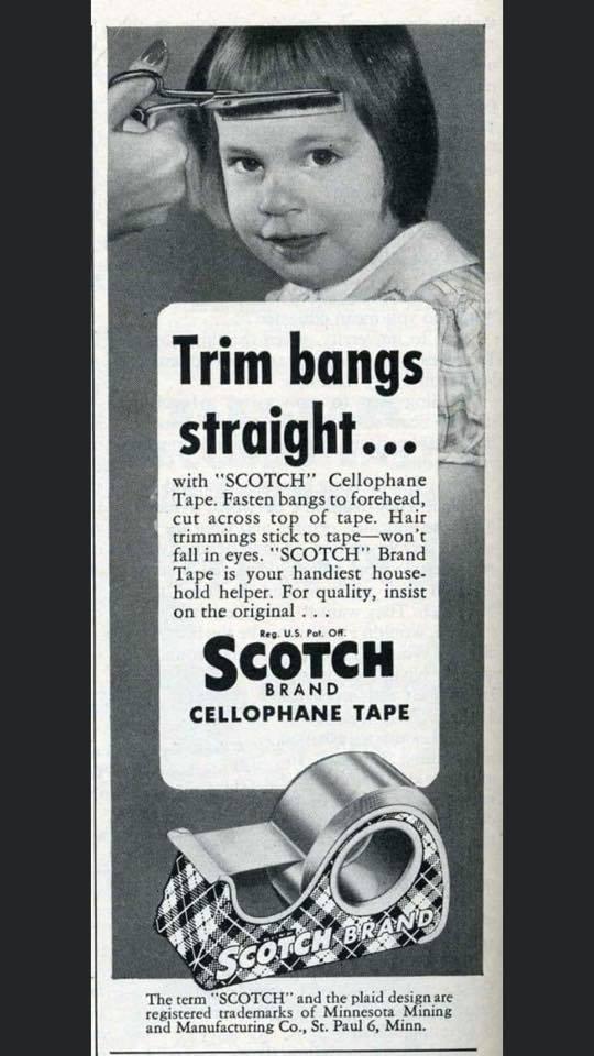 trim bangs scotch tape blog this
